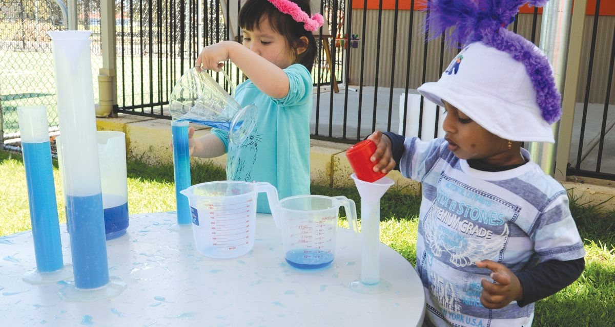One way to teach measurement in early childhood, pour water into the first child's bucket and ask them to pass the water down the line, from one bucket to the next