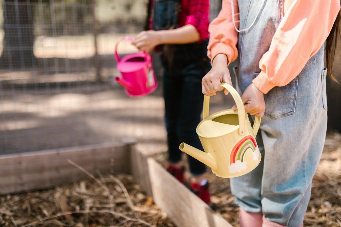 Provide bottles with different sized holes in the bottom and jugs and watering cans with different spouts and sprinklers to teach children measurement of fast and slow